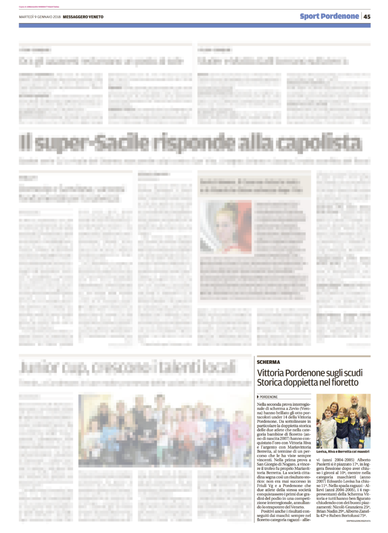 Messaggero Veneto 09/01/2018
